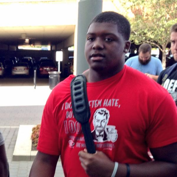 Jamarco Jones is a mountain of a man considering 2 months ago he was in High School.