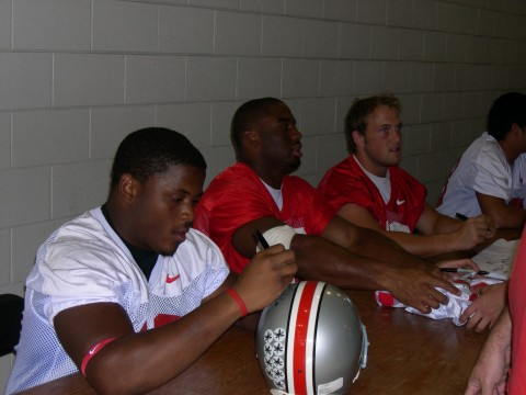 Dionte Johnson, Vernon Gholston, and John Kerr