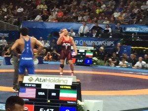 """""""I said O-H!""""  Kyle Snyder demands that his Iranian opponent return to the mat in their World Semi-Final"""